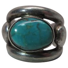 Hand Made Vintage Navajo Silver And Turquoise Ring