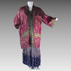 Sumptuous And Colorful 1960's Vintage Silk Lamé Jacket