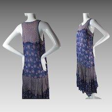 Ca. 1970 Vintage Star Of India Printed Cotton Gauze Sleeveless Dress