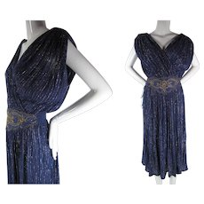 Sultry 1970's Sleeveless Eggplant Purple Greek Goddess Dress With Colored Metallic Threads