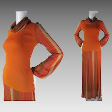 1970's Vintage Textural Two Piece Crissa Italian Pointelle Knit Dress