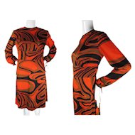 Early 1970's - Late 1960's Vintage Op-Art Printed Jersey Dress Mozes & Mozes
