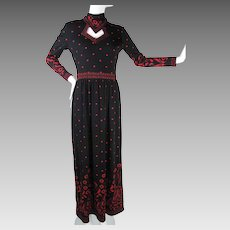 1970's Vintage Maurice Signature Print Jersey Dress