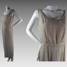 Elegant 1960's Vintage Beaded And Rhinestone Encrusted Ivory Silk Evening Gown