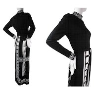1970's Vintage Paganne Belted Jersey Dress With Graphic Black And White Print