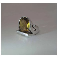 Sleek Modernist Sterling Silver And 7.67 Carat Citrine Ring
