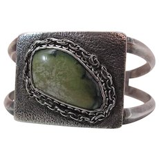 Vintage Navajo Silver Cuff With Tufa Cast Face And Fine Turquoise