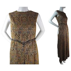 Exotic 1960's Vintage Jeweled Metallic Brocade Sleeveless Evening Gown / Dress