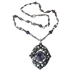 Romantic Antique Sterling Silver Edwardian Art Nouveau Necklace With Roses And Amethyst ON LAYAWAY