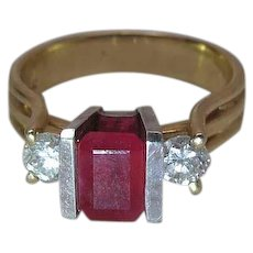 Vintage BH 14K Yellow Gold One Carat Natural Ruby And Diamond Ring