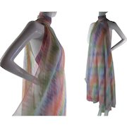 Fluttery 1970's Vintage Mollie Parnis Printed Chiffon Evening Gown With Scarf And Sash