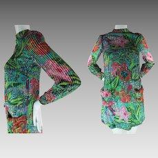 Whimsical 1960's Vintage Printed Voided Velvet Mini Dress With Saks Label