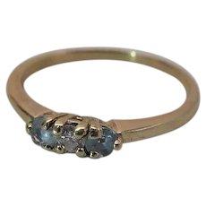 Charming Vintage 14k Yellow Gold Aquamarine And Diamond Three Stone Ring