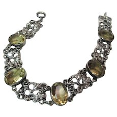 Elegant Early 20Th Century Italian Sterling Silver And Citrine Rococo Line Bracelet
