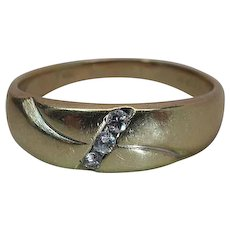 Mid-Century 14K yellow Gold And Diamond Band Style Ring