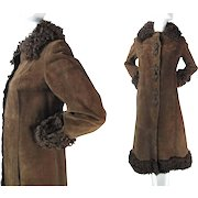 1960's Vintage Boho Chic Chocolate Leather Coat With Curly Lamb And Mouton