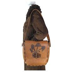 1960's / 70's Large Vintage Boho Leather Shoulder Handbag With Mushroom Motif