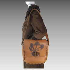 1960's / 70's Large Vintage Boho Leather Shoulder Handbag With Mushroom Motif