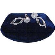 Estate 14K White Gold Diamond Halo Stud Earrings With Dangle Jackets