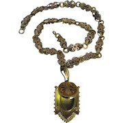 Elaborately Detailed Antique Victorian Gold Filled Book Chain And Locket