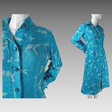 1970's Vintage Silk Shirt Dress With Beautiful Leaf Print In Blues And Becky Label