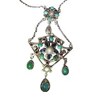 Antique Austro Hungarian Silver, Turquoise, Amethyst Pearl & Paste Pendant Necklace