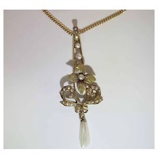 Antique Edwardian 14K Lavaliere Pendant Necklace