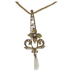 Antique Edwardian 14K Lavaliere Pendant Necklace