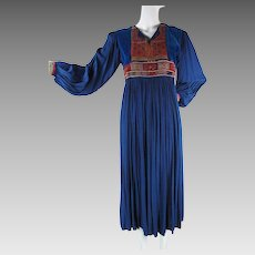 1960's Vintage Beautifully Embroidered And Beaded Boho Dress Made In Pakistan