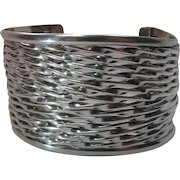 Highly Textural 2-Inch Wide Vintage Mexican Sterling Silver Cuff Bracelet By JRI