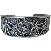 Extraordinary Vintage Sterling Silver Ballerina / Dancer Cuff Bracelet
