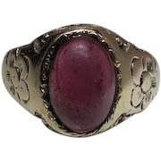 Antique Victorian 14K Yellow Gold Rubellite Tourmaline Ring
