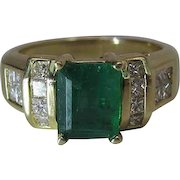 14K Yellow Gold Natural Emerald And Princess Cut Diamond Ring Signed BH