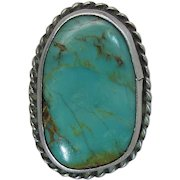 Chunky Vintage Navajo Silver And Turquoise Ring