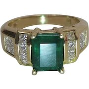14K Yellow Gold Natural Emerald And Princess Cut Diamond Ring Signed BH