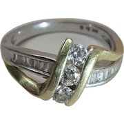 Vintage 14K Yellow And White Gold Ring With .9 Carats Of Diamonds