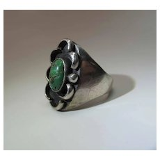 Early 20th Century Navajo Ingot Silver And Turquoise Ring