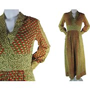 1960's Vintage India Block Print High Waisted Cotton Maxi Dress