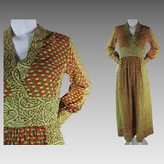 1960's Vintage India Block Print High Waisted Cotton Maxi Dress