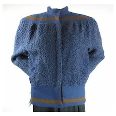 1970's Vintage Versace Women's Blue Boucle And Wool Felt Bomber Jacket