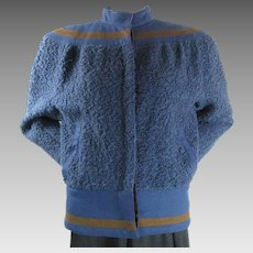 1970's Vintage Versace Women's Blue Boucle And Wool Felt Bomber Jacket