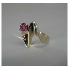 Stylish Vintage 14k Yellow Gold .25 Carat Natural Ruby Ring