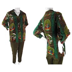 1960's Vintage 2 Piece Italian Printed Velvet Smock And Pants Pantsuit Size 16