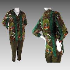 1960's Vintage 2 Piece Italian Printed Velvet Smock And Pants Pantsuit Size 16