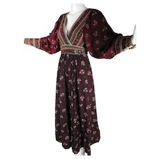 1970's Hand Embroidered Cotton Afghan Dress With Beautiful Silhouette And Lovely Print