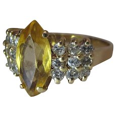 14K Yellow Gold Citrine Navette And Diamond Cocktail Ring