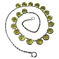 Antique Sterling Silver Rope Chain Riviere Necklace With Yellow Paste Stones