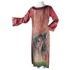 Graphic 1960's Vintage Figural Hand Painted Silk India Dress