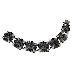 Antique Austro Hungarian Renaissance Revival Gilded Silver, Sapphire Paste And Freshwater Pearl Bracelet