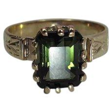 Antique Victorian 14K Gold Emerald Cut 2.65 Carat Green Tourmaline Ring